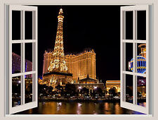 Las Vegas Lights Window View Repositionable Color Wall Sticker Wall Mural 22x30
