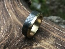 HUNTEX Unique Damascus Ring with Brass Inlay Ring Size 10.25 Mens Gift Jewellery