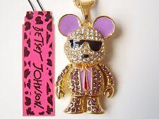 Betsey Johnson Rhinestone Mechanical mice Pendant Necklace #Z93