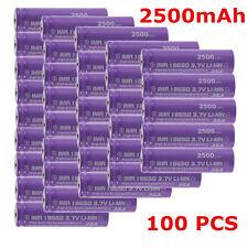 Lot 100 High Drain Rechargeable Battery 18650 35A 3.7v LI-MN 2500mAh Button MX