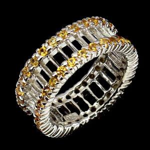 Round Orange Sapphire Diamond Cut White Gold Plate 925 Sterling Silver Ring Sz 7