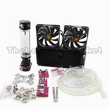 Water Cooling Kit 240 Radiator CPU GPU Block Barb 3/8 ID Pump Reservoir Tube RED