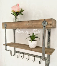 Double Shelf Wall Unit Wood & Metal Vintage Industrial Rustic Style Hook Storage
