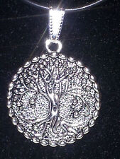 Solid Tree of Life silver pendant on black necklace JoMacDesigns