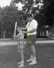 "1966 Ted Williams Providing Hitting Instruction to Camper - Vtg 4"" x 5"" Negative"
