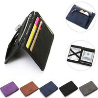 Men Faux Leather Money Clip Slim Wallet ID Credit Card Holder Case Purse New