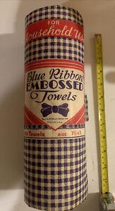 Vintage 1950 Unopened Package Blue Ribon Embossed Paper Towel Roll Groveton NH