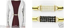 2 Faux Pearls Cardigan Clips Bead Coat Shawl Jacket Elasticate Link Brooch Clasp