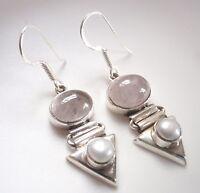 Cultured Pearl and Rose Quartz 925 Sterling Silver Dangle Earrings Corona Sun