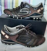 SKECHERS BIKERS TICKLED LACE UP BROWN  LEATHER TRAINERS SIZE UK 8 EUR 42