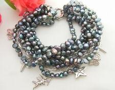 """8""""  9 Strands Black  Pearl Bracelet"""