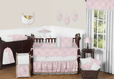 Butterfly Pink and Gray Unique Damask Baby Girls Cheap Designer Crib Bedding Set