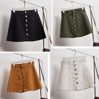 Fashion Women's Solid Button Cowboy Hight Waist A-Line Mini Denim Short Skirt