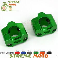Green HandleBar Fat Bar Mount Clamps Riser Adaptor For Kawasaki Racing Off Road
