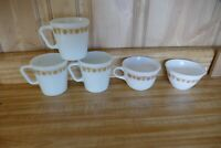 Set of 5 assorted Vintage Pyrex Corning Corelle Coffee Cups Mugs Butterfly Gold