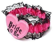 Jarretière fantaisie pour la mariée coeur Bride to be - noir rose fuchsia