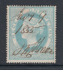 Great Britain SG F3 used. 1853 1p pale turquoise blue QV Fiscal, 1855 m/s cancel