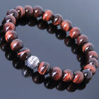 Men Women Red Tiger Eye Bracelet Gemstone 925 Sterling Silver Bead DIY-KAREN 453