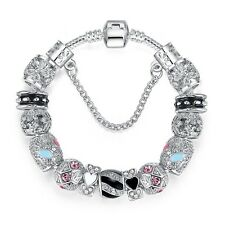 New Sterling Silver Charm Bead Bracelet With Crystal Stones FAST FREE SHIPPING