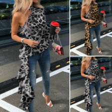 UK Women One Shoulder Printed Leopard Tops Holiday Party Shirt Tee Tunic Blouse