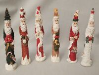 "Pencil Skinny Santa's w Crazy Hats Set of 6 6.5"" Tall"
