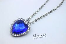 New Beautiful Fashion Metal Silver Titanic Rose Heart Of Ocean Pendant Necklace