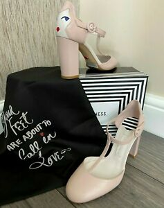 LULU GUINNESS NUDE ROSE CAMILLE T BAR SHOES UK 5 RETAIL £295 BNIB
