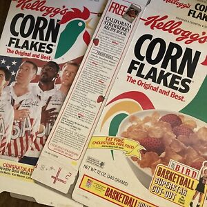 1992 Kelloggs Corn Flakes Cereal Box Olympics Larry Bird Basketball Cut Out lot
