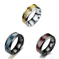 Celt Dragon Band Ring Herren Mode Stahl Titan Gold Silber Schwarz X6C2