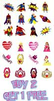 72 Childrens Super Hero Princess Temporary Tattoos Kids Loot Party Bag Fillers