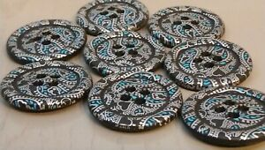 38mm Large Black with a Paisley Pattern 4 Hole Buttons - Choice of Pack Size