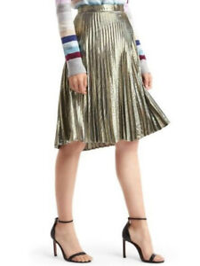 NWT Gold Metallic Pleated Mid-Length Skirt Size 0P