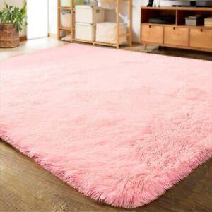 Luxury Pink Bedroom Living Room Shag Rug Carpet Floor Mat with Non-Slip Backing