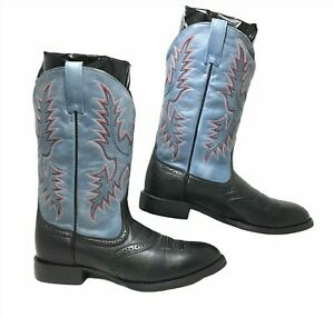 Ariat Women's Cowboy Boots Blue and Black Leather SIZE 8 B