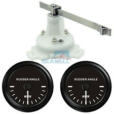 2 PCS KUS Boat Marine Rudder Angle Gauge Indicator W/ Dual Station Rudder Sensor