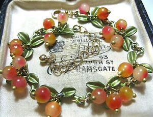 Vintage Style Art Deco Orange & Pink Stone BEAD Berries Blossom Enamel BRACELET