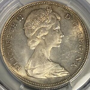 CANADA $1 Silver Dollar 1966 PCGS MS64 Large Beads