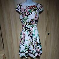 Dorothy Perkins Light Pink Floral Belted Fit&Flare Mesh Panel Dress Size 14