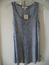 Must Have! Michael Kors Sequin Front Grey Snake Print Tank Top Cami Shell 8 10 M