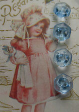 """Set of 4 ~ Vintage 1/2"""" Clear Light Blue Hex Glass Buttons~new/old stock ~1920's"""