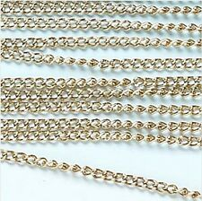 """Gold Curb Chain Jewelry Essentials Finding 72"""" 1.8 meters 2mm Links"""
