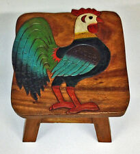 FOOTSTOOLS - ROOSTER WOODEN FOOTSTOOL - ROOSTER FOOT STOOL