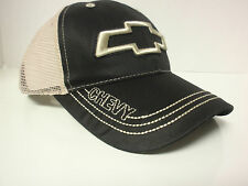 OFFICIAL LICENSED CHEVY LOGO CAP - ONE SIZE FITS ALL HAT - BLACK TAN MESH GM