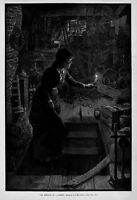 WOMAN TREASURE HUNTING IN THE ATTIC BY CANDLE-LIGHT