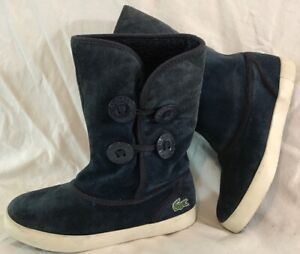 Lacoste Navy Mid Calf Suede Lovely Boots Size 3 (990vv)