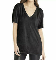 Michael Stars Vali Velvet Tee Top V-Neck Short Sleeve Black Sz XS Oversized