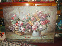 Superb Oil Painting On Canvas-Large Bouquet Of Flowers-T. Ozaluzr Signed-LQQK