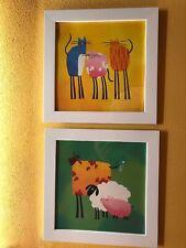 Due Quadretti per Bambini - Incorniciati Ikea - Tema Animali - Misura 30x30 cm