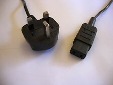 UK mains plug black power cable to IEC C9 2m (audio Revox Marantz Roland)