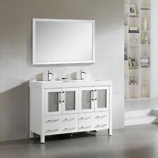 "Dowell 48"" 019 48 01 Modern Double Sink Bathroom Vanity Milky White Color"